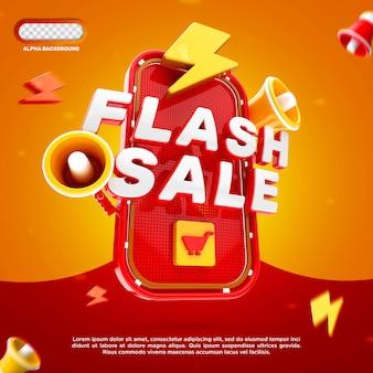 Flash sale banner 3d render geïsoleerd