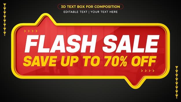 Flash sale d-tekstvak met korting in 3d-rendering