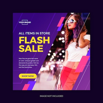 Flash sale instagram banner social media