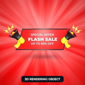 Flash-uitverkoop tot 50 korting aanbieding 3d render geïsoleerd