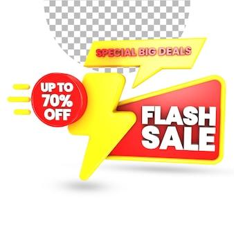 Flash-verkoop 70 procent korting op aanbieding met rode en gele verrassingsgeschenkdoos 3d render geïsoleerd