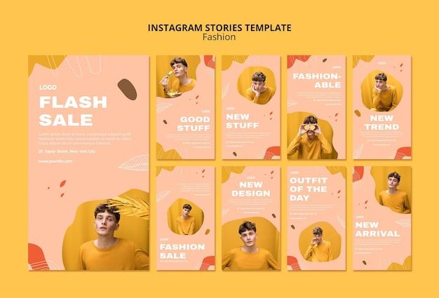 Flash-verkoop mannelijke mode instagram verhalen sjabloon