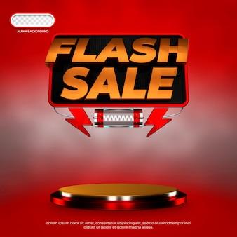 Flash verkoop social media banner 3d render premium psd