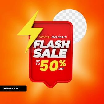Flash-verkoop tekstvak met korting in 3d-rendering