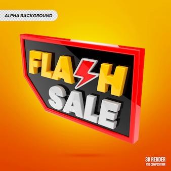 Flash-verkoopbadge 3d-weergave