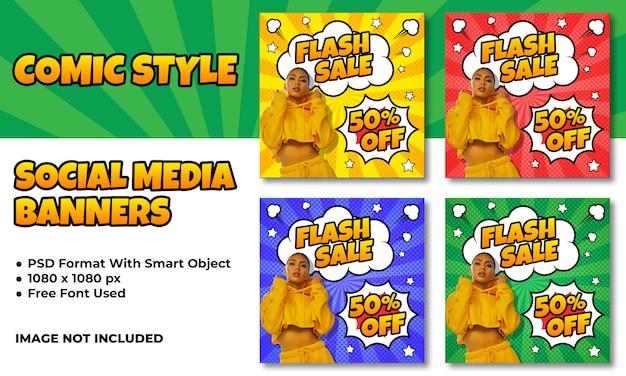 Flash-verkoopbanners voor sociale media in komische stijl