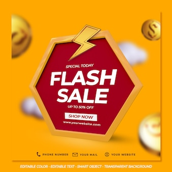 Flash-verkoopsjabloon met dollarmunten en wolken