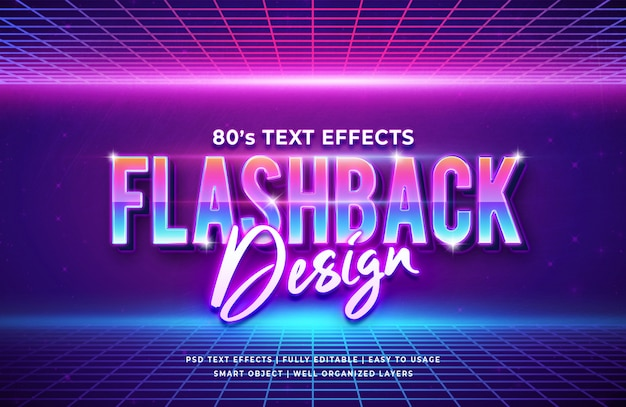 Flashback-ontwerp retro-teksteffect uit de jaren 80