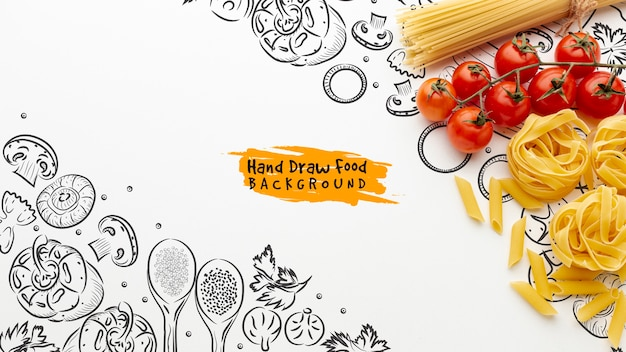 Flat lay sin cocer tagliatelle y espaguetis y tomates con fondo dibujado a mano