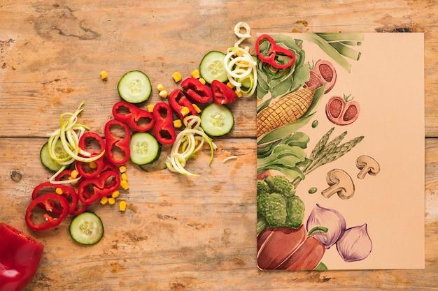 Flat lay de comida sana con mockup de tarjeta