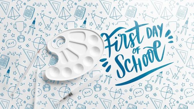 Flat lay primo giorno dell'evento scolastico