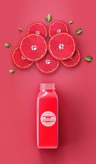 Flat lay refrescante batido rojo maqueta