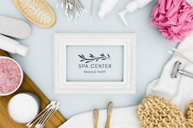 Flat lay spa center mock-up marco vacío
