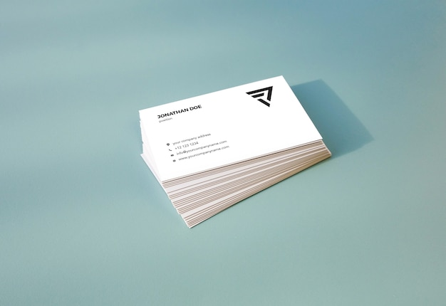 Flat pastel gestapeld visitekaartje mockup