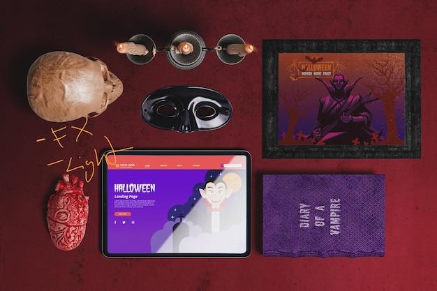 Flay lay van halloween dracula concept scène maker