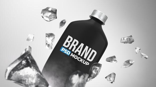 Fles 3d-rendering mockup ontwerp