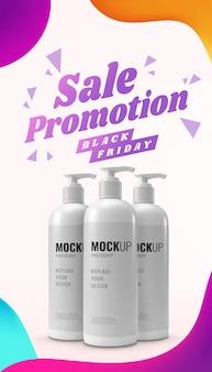 Fles banner reclame verkoop zwarte vrijdag