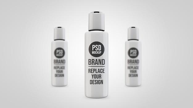 Fles gel mockup 3d-rendering ontwerp