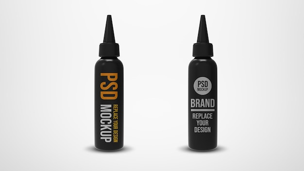 Fles met tuit mockup 3d-rendering ontwerp