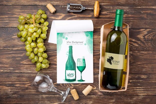 Fles wijn met glas