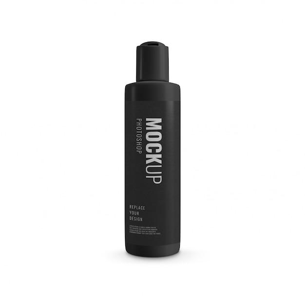 Flip cover mockup cosmetico di bottiglia nera