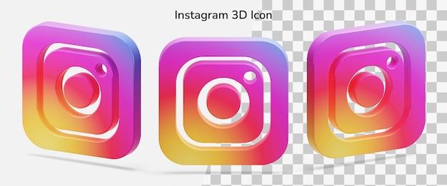 Float geïsoleerd instagram-logo 3d pictogramactief