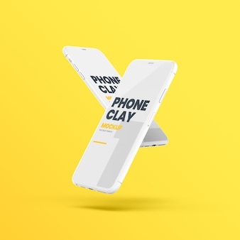 Floating clay phone devices mockup