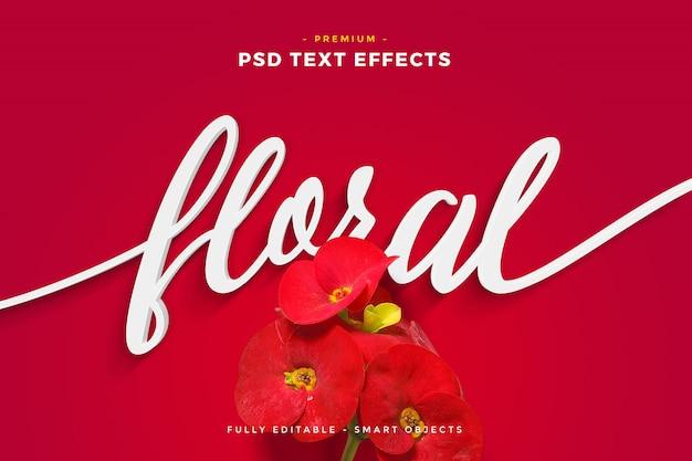Flor roja efecto de texto floral maqueta