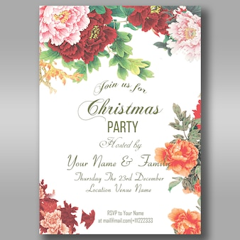 Floral christmas party uitnodiging flyer