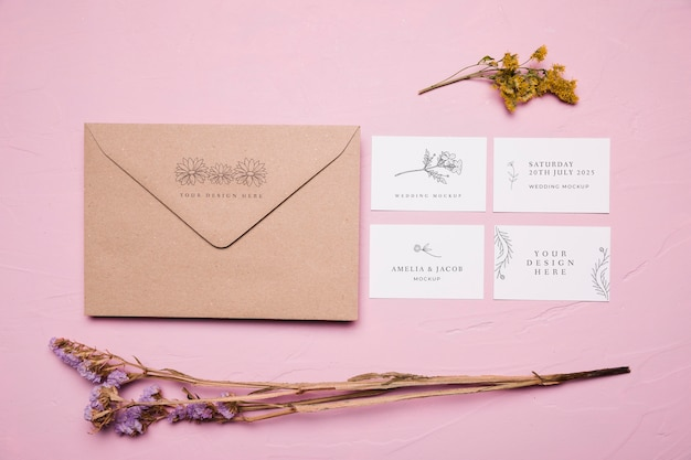 Floral design envelop mock-up