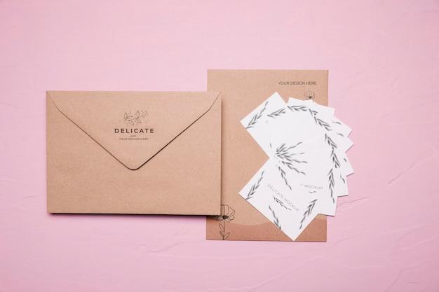 Floral design envelop mock-up