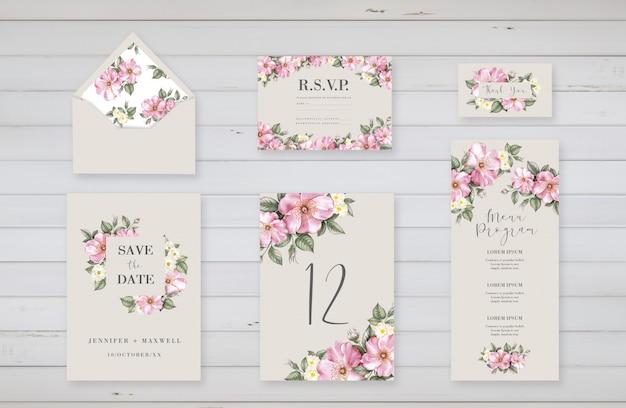 Floral sjablonen voor bruiloft evenement
