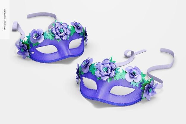 Floral venetiaanse halfgelaatsmaskers mockup, perspectief