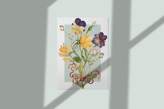 Floral white paper mockup psd op de muur, geremixt van kunstwerken van pierre-joseph redouté