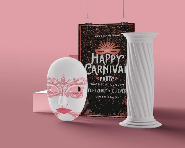 Florero y máscara para maqueta de carnaval