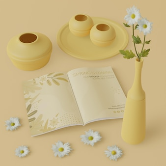 Floreros en 3d con tarjeta de primavera en la mesa