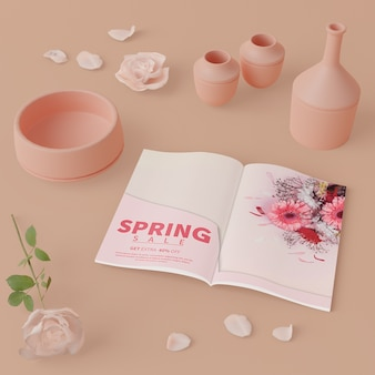 Floreros en 3d con tarjeta de primavera