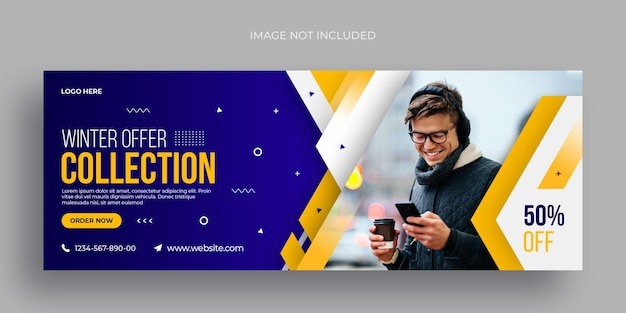 Flyer de banner web de redes sociales de venta de moda de invierno y plantilla de diseño de foto de portada de facebook