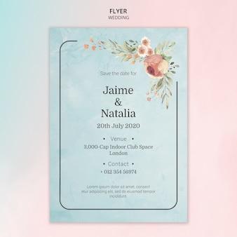 Flyer bruiloft uitnodiging met aquarel bloemen