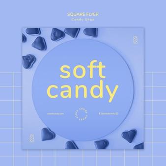 Flyer concept voor snoepwinkel sjabloon