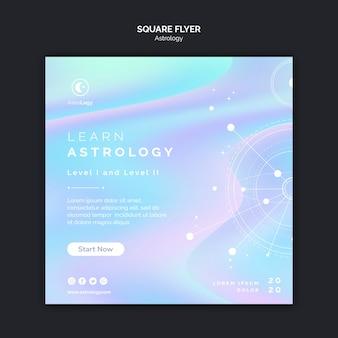 Flyer cuadrado de astrología aprender astrología