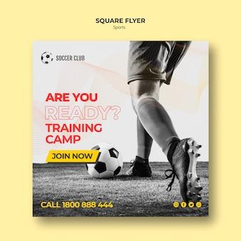 Flyer cuadrado del campo de entrenamiento del club de fútbol