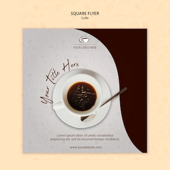 Flyer cuadrado de concepto de café
