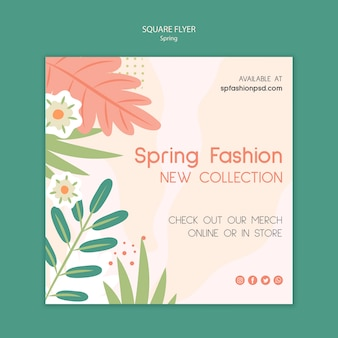 Flyer cuadrado moda primavera