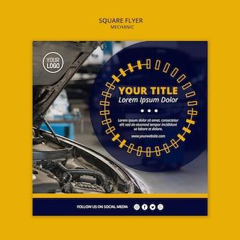 Flyer cuadrado de negocios mecánico con coche