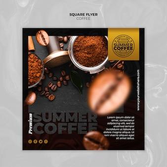Flyer cuadrado de plantilla de cafetería