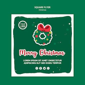Flyer cuadrado de plantilla de feliz navidad