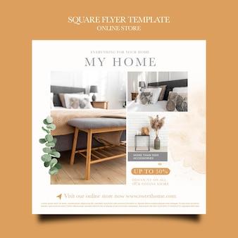 Flyer cuadrado para tienda online de muebles para el hogar
