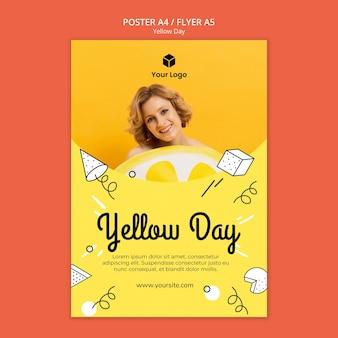 Flyer con diseño de día amarillo
