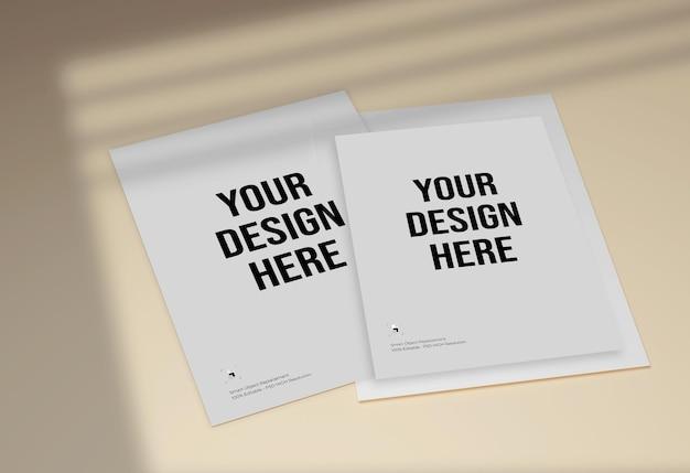 Flyer en briefhoofd mockup-ontwerp met schaduweffect
